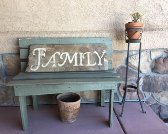 Family sign made out of old barn wood