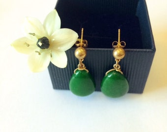 gold-plated jade drop earrings