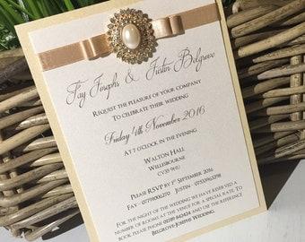 The 'Fay & Justin' evening Wedding invitation / Wedding invite / Gold wedding invites