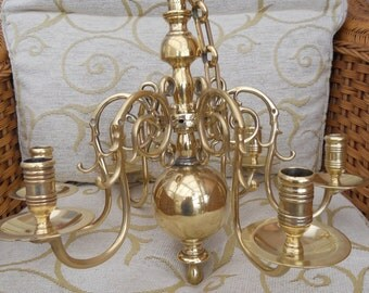 Rare Early 18th century Dutch Solid Brass six arm Hanging Chandelier. 20% off!