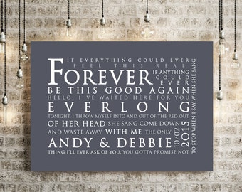Foo Fighters Everlong Inspired Lyrics Print Love Song Wall Art Home Decor Anniversary Wedding Gift Typography Lyric PERSONALISED PRINT