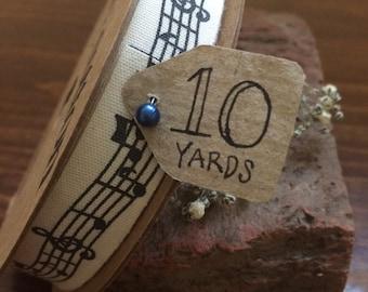 "5/8"" x 10 yrd Musical Notes Printed Cotton Ribbon - 100% cotton - HI-C580-39"