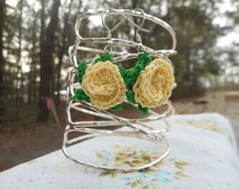Yellow Crochet Rose Earrings