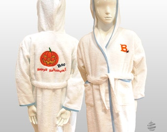 Personalized Children Halloween Costume Hooded Terry Toweling Robe - White and blue / pink