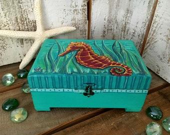 "Wood jewelry box, ""Seahorse"", Keepsake box, Jewelry box, Jewelry storage, Hand painted, Handmade, Refurbished, Beach Decor, Gift for her"