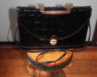 Black Vintage 50-60's varnish blown leather satchel
