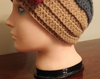 Gray and Tan headband/earwarmer