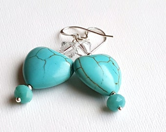 Heart Shaped Turquoise Magnesite and Swarovski Crystal Earrings