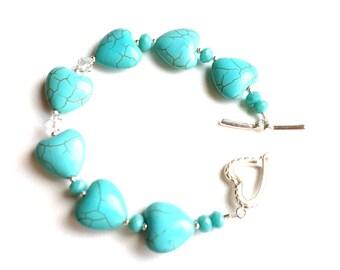 Turquoise Magnesite and Swarovski Crystal Bracelet