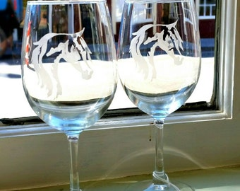 Etched wine glasses.