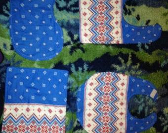 Flannel fair isle print bib and burpie set