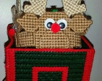 Handmade Reindeer Chime in Decorative Santa's Stable Box