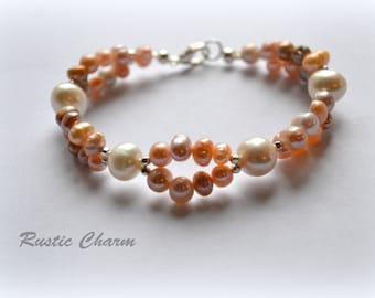 Double Strand Fresh Water Pearl Bracelet