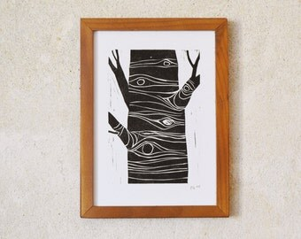 tree 2 · original linocut · Limited Edition · DIN A5