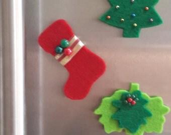 Magnet Set of 3 Items - Christmas Fridge Magnet - Fridge Magnet - Christmas kitchen decoration - Kitchen decor - Felt Magnet - Fridge Decor