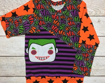 Boys villian Joker shirt, Toddler long sleeve joker shirt, black and orange outfit, baby boys superhero top, baby boys villian outfit