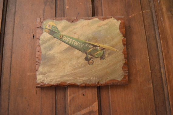 Wooden Airplane Wall Decor : Vintage wooden plank airplane art wall early by hangar