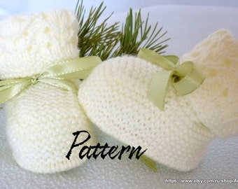 Knitted baby pattern PDF,baby booties, knitted baby shoes in white.