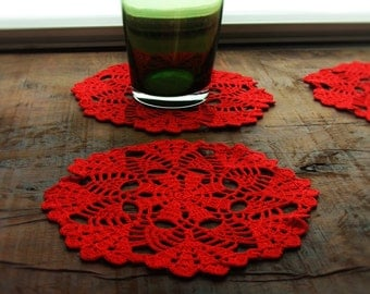 Red Cozy Crochet Tablecloths, Doily, Place Mat, For Home Decor.