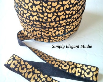 "5/8"" Black, Gold Metallic Cheetah Print Fold Over Elastic, Elastic by the Yard, DIY Hair Ties and Headbands Elastic"