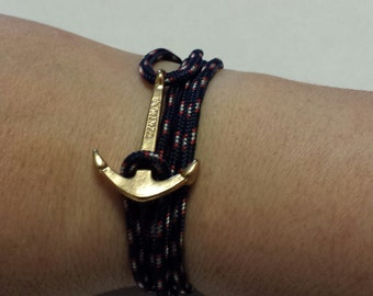 Navy Blue and Gold Anchor Rope Bracelet