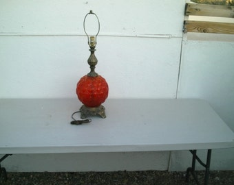 Vintage Mid Century Round Red Glass Globe Table Lamp