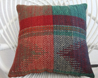 "Flat Woven Turkish Kilim Pillow Cover , 14"" x 14"" , Green Red Kilim Pillow , Vintage Kilim Pillow , Cushion Cover ,Decorative Pillows 68"