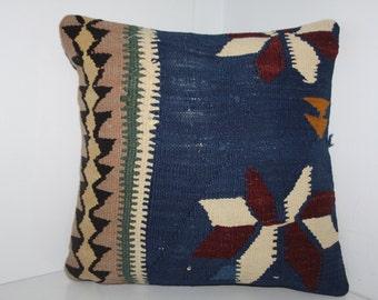 16x16 kilim pillow - cushion covers kilim pillow covers vintage turkish rug decorative pillows blue pillow turkey kilim pillows