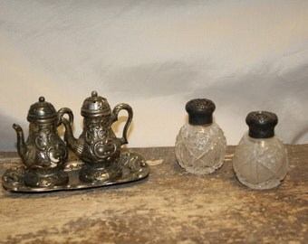 Vintage Sterling and Crystal Salt and Pepper Shakers