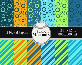 Digital Papers, Summer Brights Diagonals Loops, 12 inches x 12 inches,300 ppi (dpi), Scrapbooking & Craft Papers, Downloadable and Printable