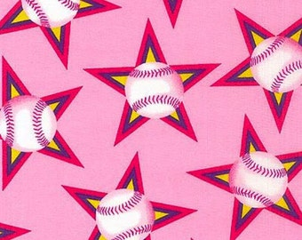 Baseball Pink Star Fabric Quilting Crafting Home Decor