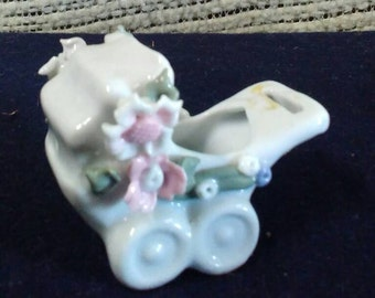 Vintage Miniature Baby Carriage Vase