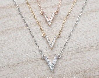 Clear CZ Small Dainty & Delicate V Necklace, Geometric Minimalist Necklace