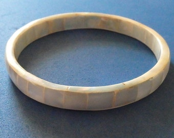 mother of pearl bangle bracelet,- No metal. 1960's 1970's Vintage bangle clearance was 8.75