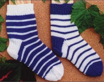 First Time Socks Knitting Pattern, pdf, worsted weight, boot socks