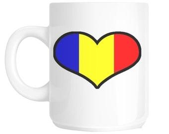 I Love Heart Romania Flag Design Gift Mug shan74