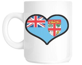 I Love Heart Fiji Flag Design Gift Mug shan66