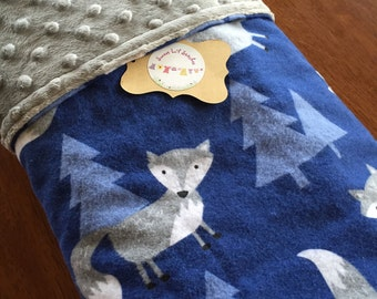 Handmade Baby Blanket Blue with Grey Foxes/Grey Minky Dots