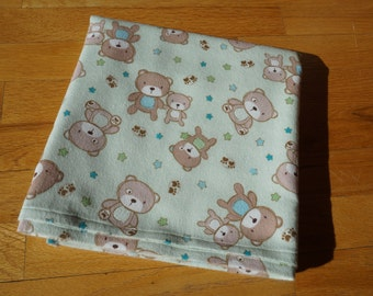 Teddy Bear Receiving Blanket - Baby - Flannel Blanket, Swaddle Blanket - Light Green and Brown - Stars - Extra Large