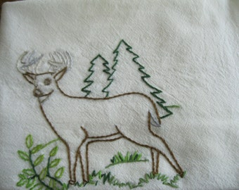 Embroidered Flour Sack Deer Dishcloth
