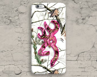 Snow Deer Head iPhone 6 Case, Pink White Camo iPhone 7 Case, iPhone 7 plus case, iPhone 6S Plus, iPhone SE, 4 4S 5 5S 5C Hunter Country
