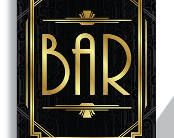"BAR SIGN Printable Art Deco Gatsby Wedding Sign - ""BAR"" - Art Deco Pattern Background Faux Gold digital file - ADC1"
