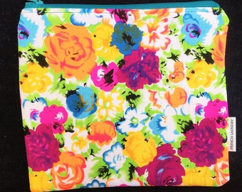 Funky Zipped Pouch with Neon Flowers