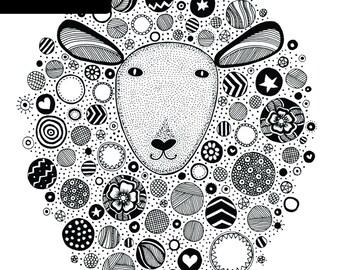 Sheep Print - A4 Unframed Black & White Illustration