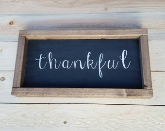 Rustic farmhouse inspired thankful framed wood sign