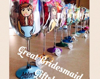 Custom Painted Wine Glasses - Bridesmaid Gift Wine Glass - Portrait Wine Glass - FREE Bride Glass with Purchase