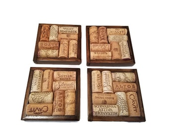 Wine Cork Coasters - Set of Four - Wine Lover - Wine Cork Decor - Wine Cork Craft - Housewarming Gift - Recycled Corks - Bar Decor