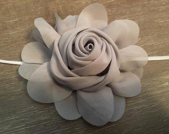 "4"" Grey chiffon flower headband"