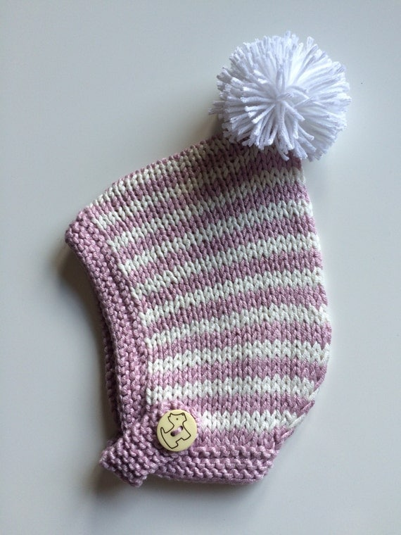 Baby clothes, Hat, Pom pom Hand Knit Coming Home Pixie Hat Soft Newborn Baby Gift  Delicate Button Chin Strap Will Grow With Baby Merino w