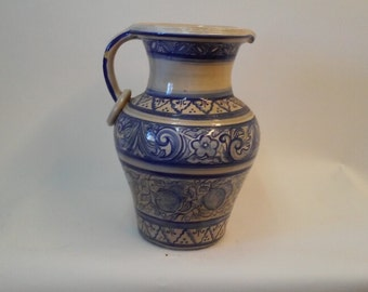 Vintage Blue and White Italian Tall Pitcher